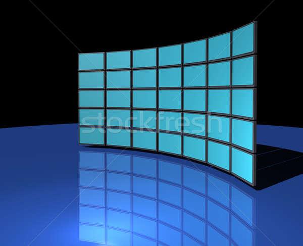 Breedbeeld monitor muur display donkere Blauw Stockfoto © Anterovium