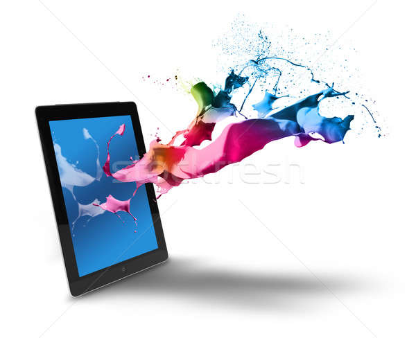Tablet computer color splash Stock photo © Anterovium
