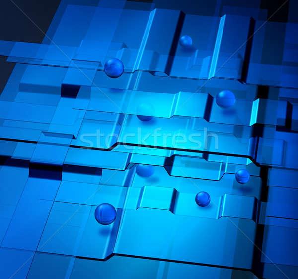 Nanotechnologia niebieski kule tle internetowych piłka Zdjęcia stock © Anterovium