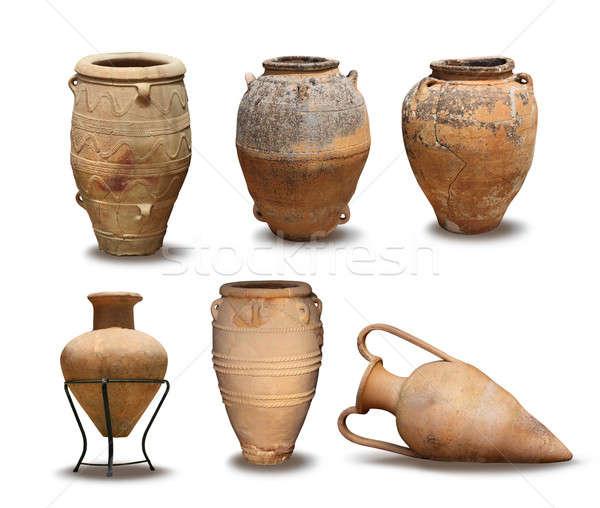 Antigo vaso coleção grego argila branco Foto stock © Anterovium