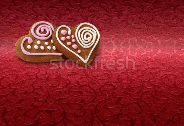 Ginger bread cookies on red Stock photo © Anterovium
