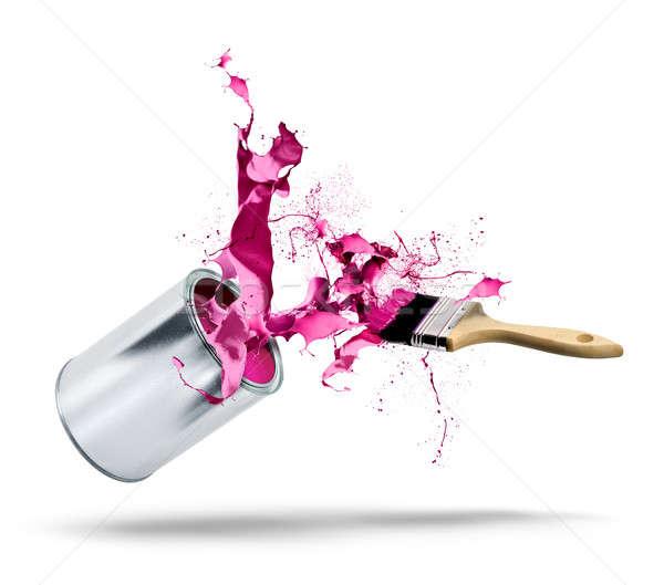 Colore splash pennello caduta rosa Foto d'archivio © Anterovium