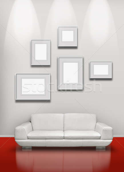 Red floor white gallery Stock photo © Anterovium