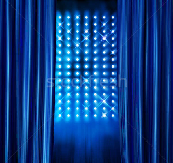 Stage spotlights blue curtains Stock photo © Anterovium