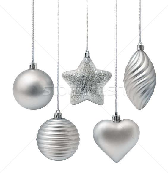Ezüst karácsony dekoráció elemek izolált fehér Stock fotó © Anterovium