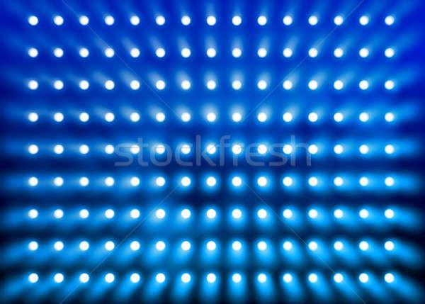 Bleu Spotlight mur stade présentation fond Photo stock © Anterovium