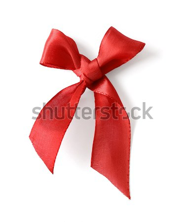 Stock photo: Red silk ribbon bow
