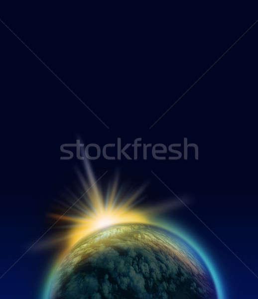 Kék bolygó fogyatkozás ragyogó fényes fény Stock fotó © Anterovium