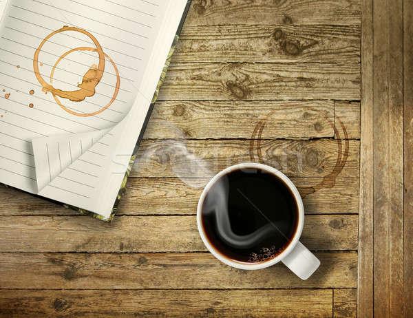 Kezdet reggel erős kávéscsésze forró feketekávé Stock fotó © Anterovium