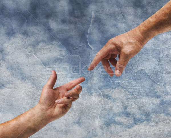 Two hands reaching old painting style Stock photo © Anterovium