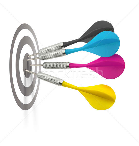 Cmyk darts hitting target Stock photo © Anterovium