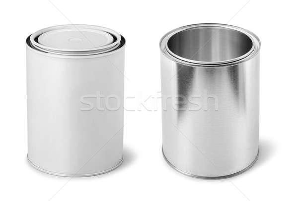 Pintura metal aislado blanco diseno contenedor Foto stock © Anterovium