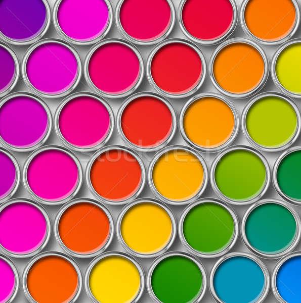 Color pintura estaño superior vista tabla Foto stock © Anterovium
