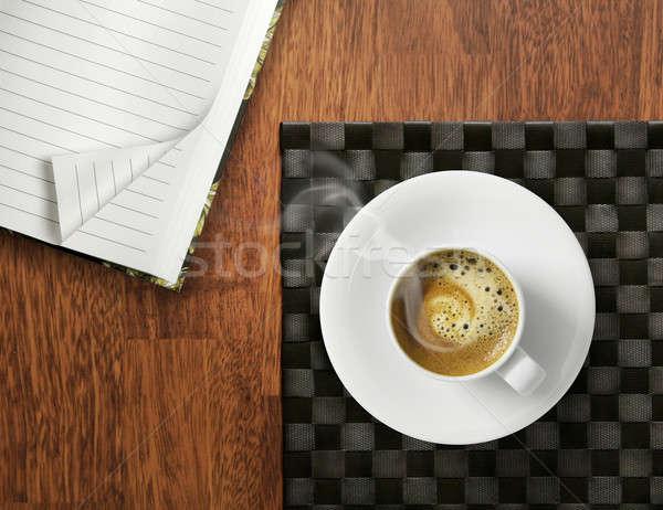 Manhã começar xícara de café café expresso café mesa de madeira Foto stock © Anterovium