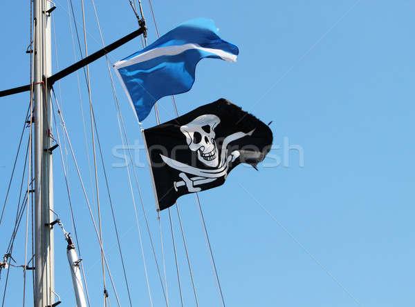 Pirackich banderą czarno białe czaszki kości Zdjęcia stock © Anterovium