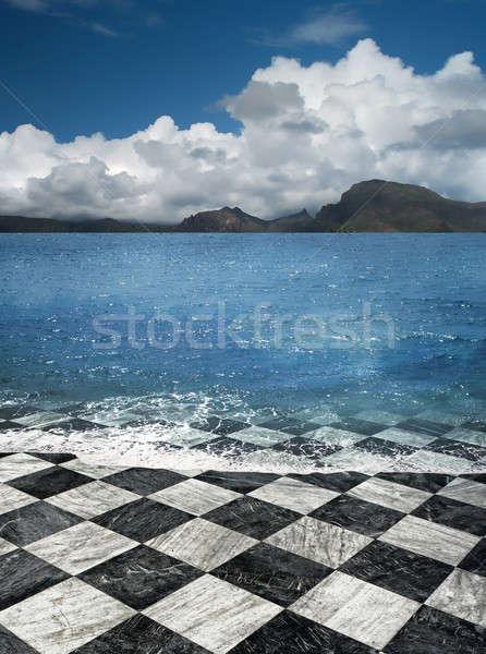 Mermer karo plaj yanılsama deniz Stok fotoğraf © Anterovium