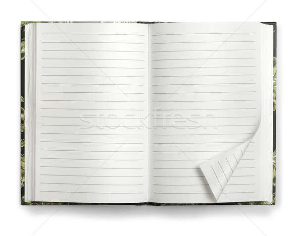 Nyitva papír notebook memo izolált fehér Stock fotó © Anterovium