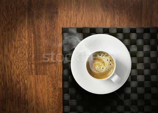 горячей эспрессо Кубок кофе деревянный стол темно Сток-фото © Anterovium