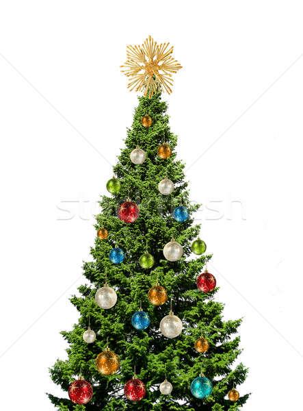 Színes karácsonyfa fehér zöld üveg golyók Stock fotó © Anterovium