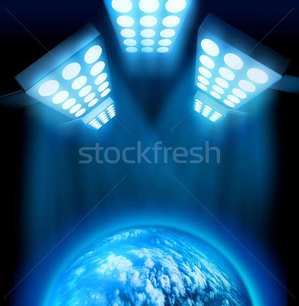 Wereld première licht show lichten Blauw Stockfoto © Anterovium