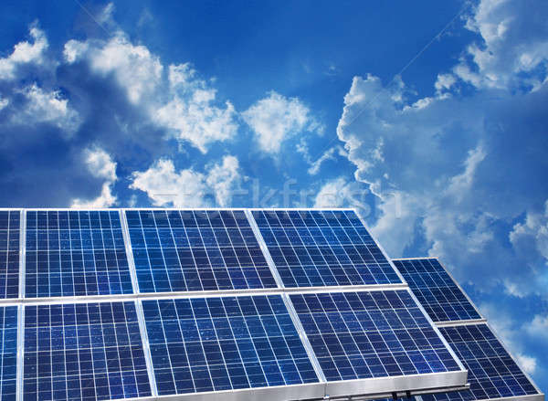 Stock photo: Solar panels blue sky