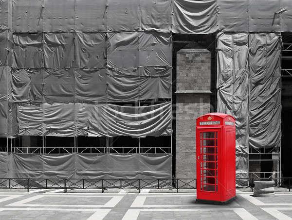 Сток-фото: красный · телефон · стенд · холст · строительная · площадка · строительство