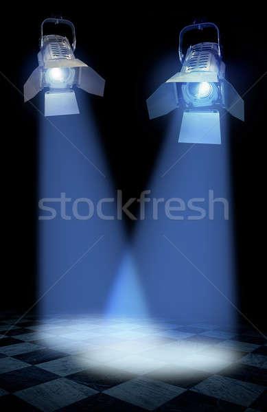 Professionnels stade Spotlight lampes lampe noir Photo stock © Anterovium