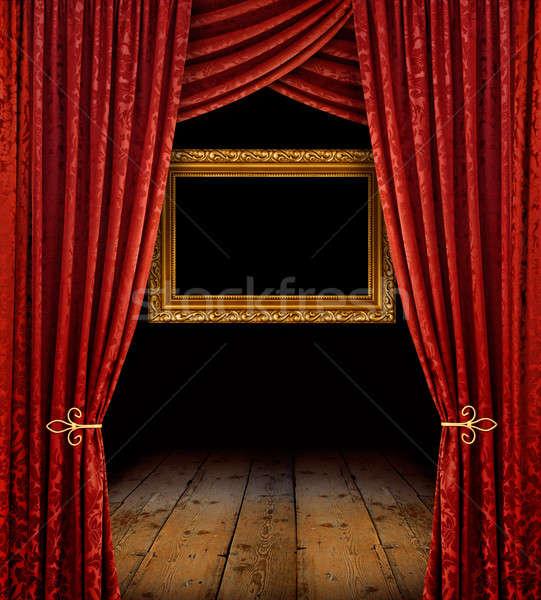 Piros függönyök arany keret színpad arany Stock fotó © Anterovium