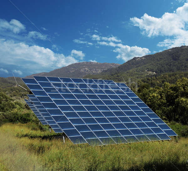 Solar energy panel collectors countryside Stock photo © Anterovium