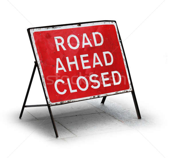 Grungy road closed sign Stock photo © Anterovium