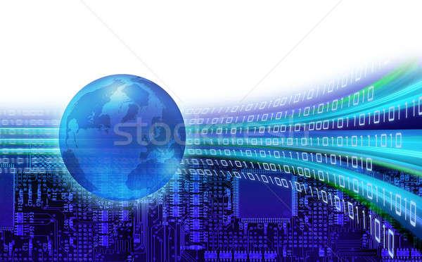 глобальный информации двоичный вокруг Мир Сток-фото © Anterovium