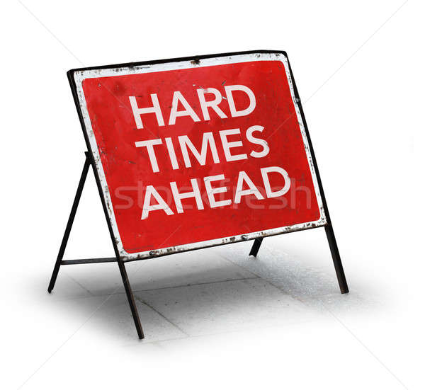 Grungy road sign hard times ahead Stock photo © Anterovium