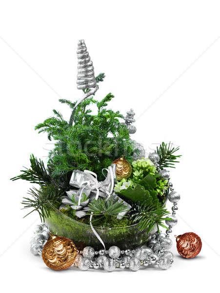 Modern karácsony dekoráció egyezség zöld izolált Stock fotó © Anterovium