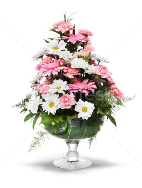 Daisy rosa blanco ramo vidrio Foto stock © Anterovium