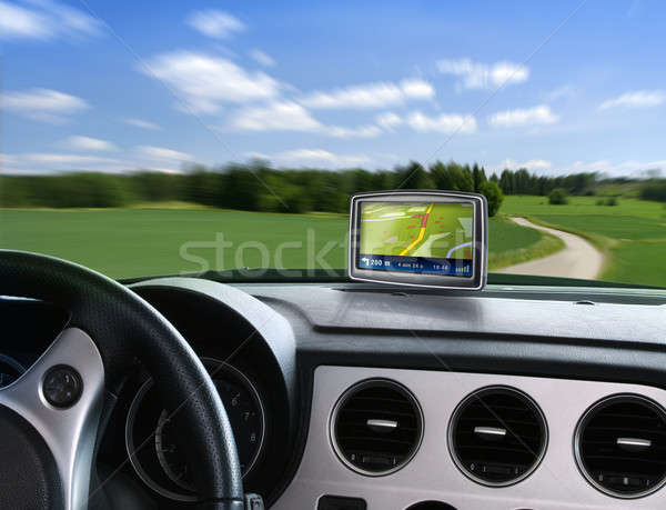 Auto GPS navigation campagne route Photo stock © Anterovium