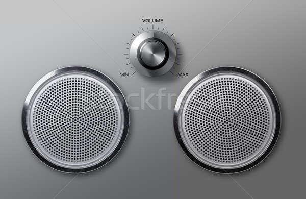 Valósághű fém hangerő fogantyú zene technológia Stock fotó © Anterovium