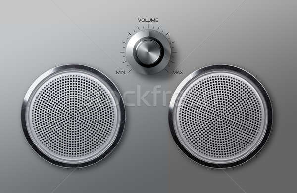 Realistic metal loudspeakers with volume knob Stock photo © Anterovium