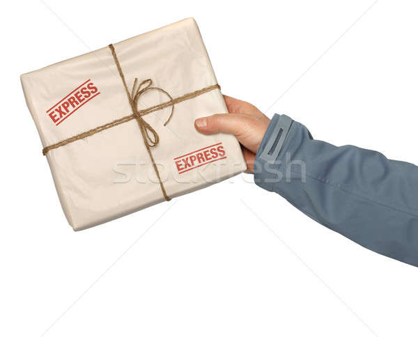 Mail entrega urgente masculina mensajero servicio trabajador Foto stock © Anterovium