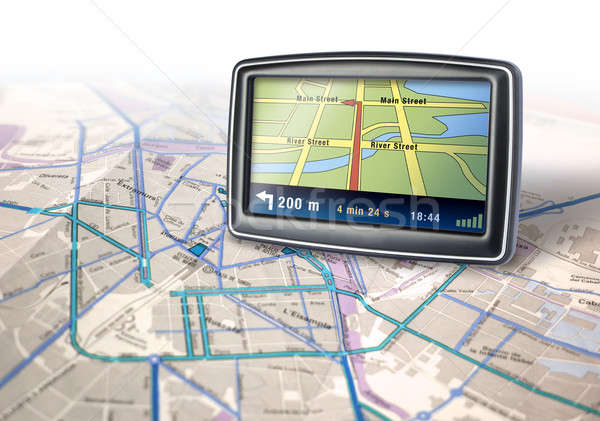 GPS appareil Auto ville carte route Photo stock © Anterovium