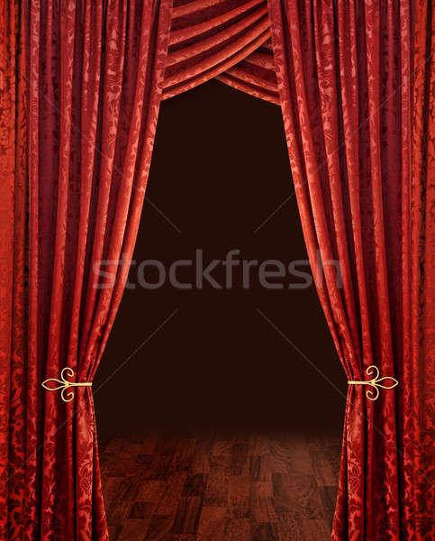 Rojo teatro cortinas etapa marrón Foto stock © Anterovium