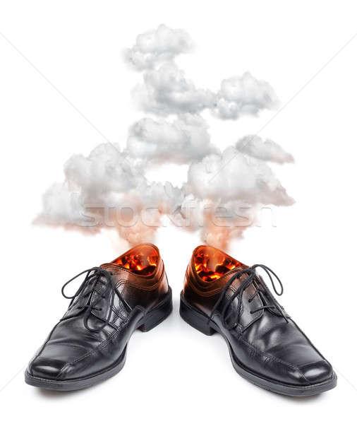 üzlet cipők égő forró stressz fájdalom Stock fotó © Anterovium