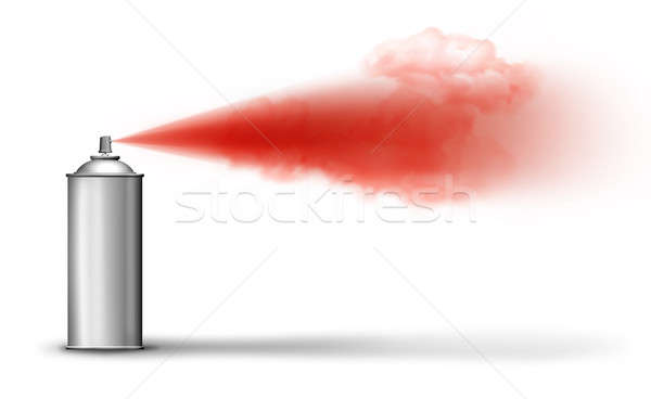 Aerosol can spraying red paint Stock photo © Anterovium