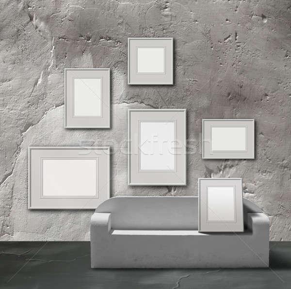 Biały kamień zdjęcie galerii wystawa przestrzeni Zdjęcia stock © Anterovium