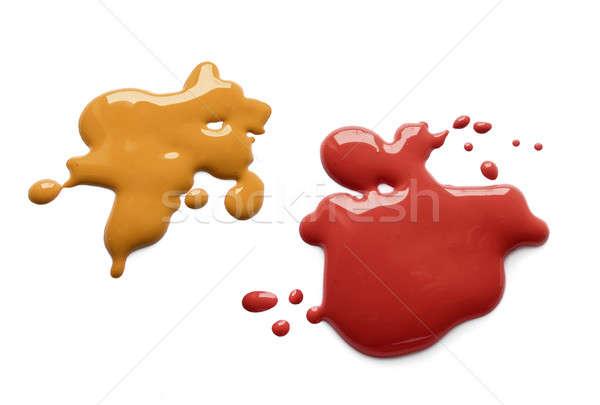 マスタード ケチャップ スプラッシュ 黄色 暗い 赤 ストックフォト © Anterovium