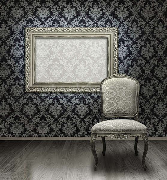 Classic chair and silver frame Stock photo © Anterovium