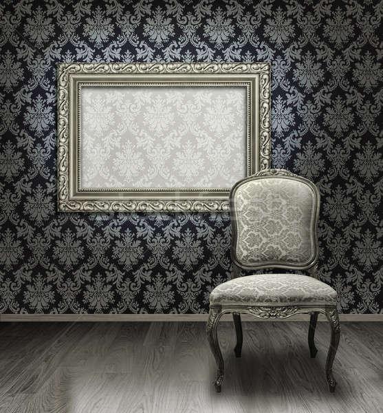 Klassiek stoel zilver frame antieke kamer Stockfoto © Anterovium
