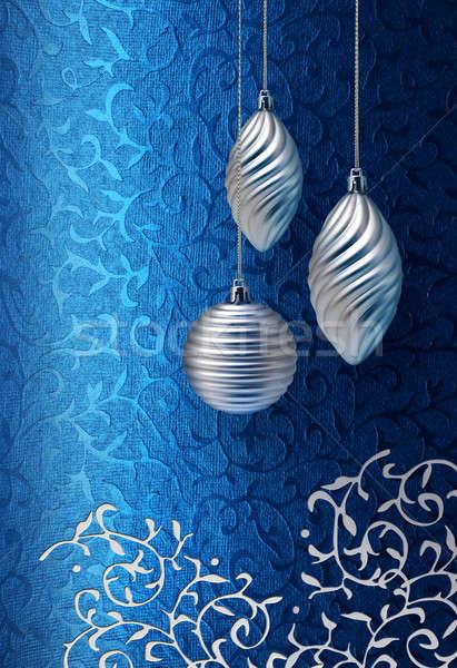 Blue Christmas brocade silver decoration Stock photo © Anterovium