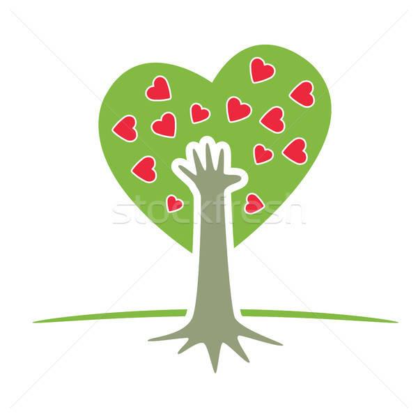 Boom hand harten symbolisch vector afbeelding Stockfoto © antkevyv
