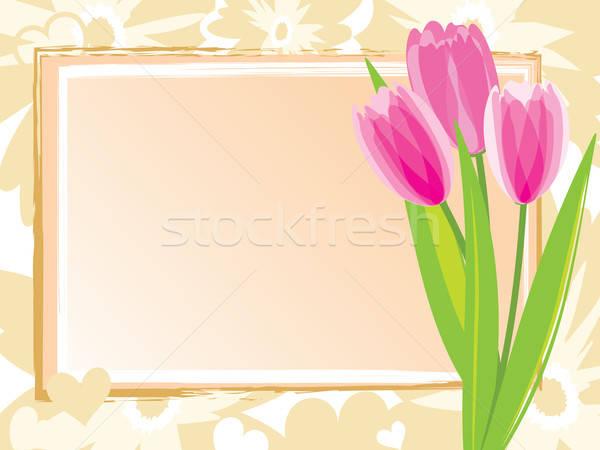 Feestelijk kaart roze tulpen voorjaar ontwerp Stockfoto © antkevyv