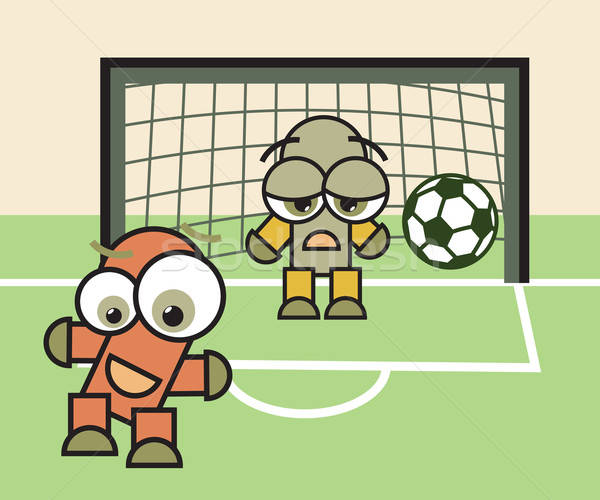 Glück traurig Torhüter Fußball Fußball Spiel Stock foto © antkevyv